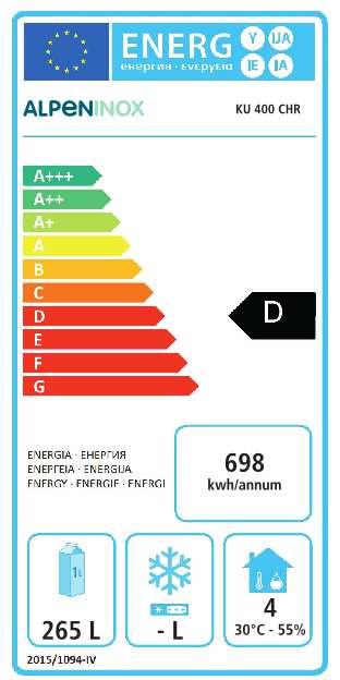 Umluft-Gewerbekühlschrank KU 400 CHR